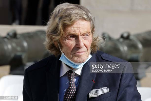 French former minister Olivier Stirn arrives to attend a national memorial service for Hubert Germain - the last surviving Liberation companion - at...