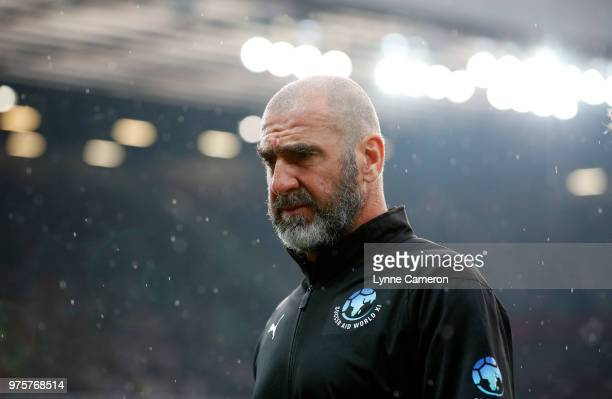 French former player Eric Cantona looks on during the Soccer Aid for UNICEF 2018 match between England and The Rest of the World at Old Trafford on...