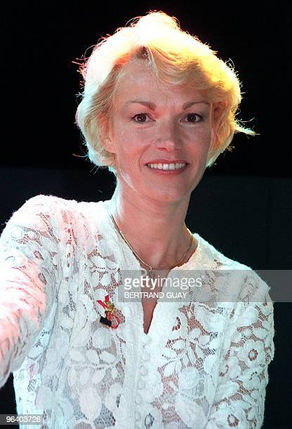 French former porn star Brigitte Lahaie poses for photographers late 20 May at the 1998 Hots d'Or ceremony near Cannes southern France on the fringes...