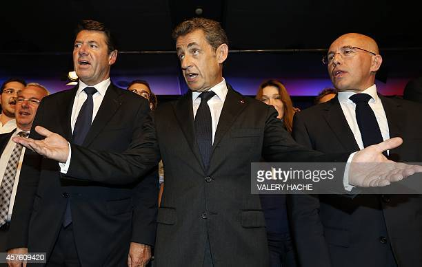 French former president and candidate for the presidency of France's main opposition party UMP Nicolas Sarkozy Nice mayor Christian Estrosi and...