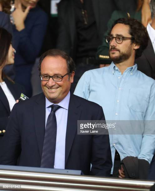 French former president Francois Hollande and his son Thomas Hollande attend the French Ligue 1 match between Paris Saint Germain and AS SaintEtienne...