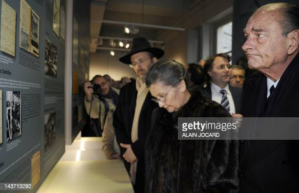 French former President Jacques Chirac French former Minister Simone Veil former Auschwitz death camp's survivor and the great Rabbi of France Gilles...