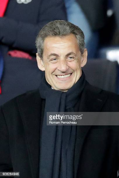 French former President Nicolas Sarkozy looks on before the UEFA Champions League Round of 16 Second Leg match between Paris Saint-Germain and Real...