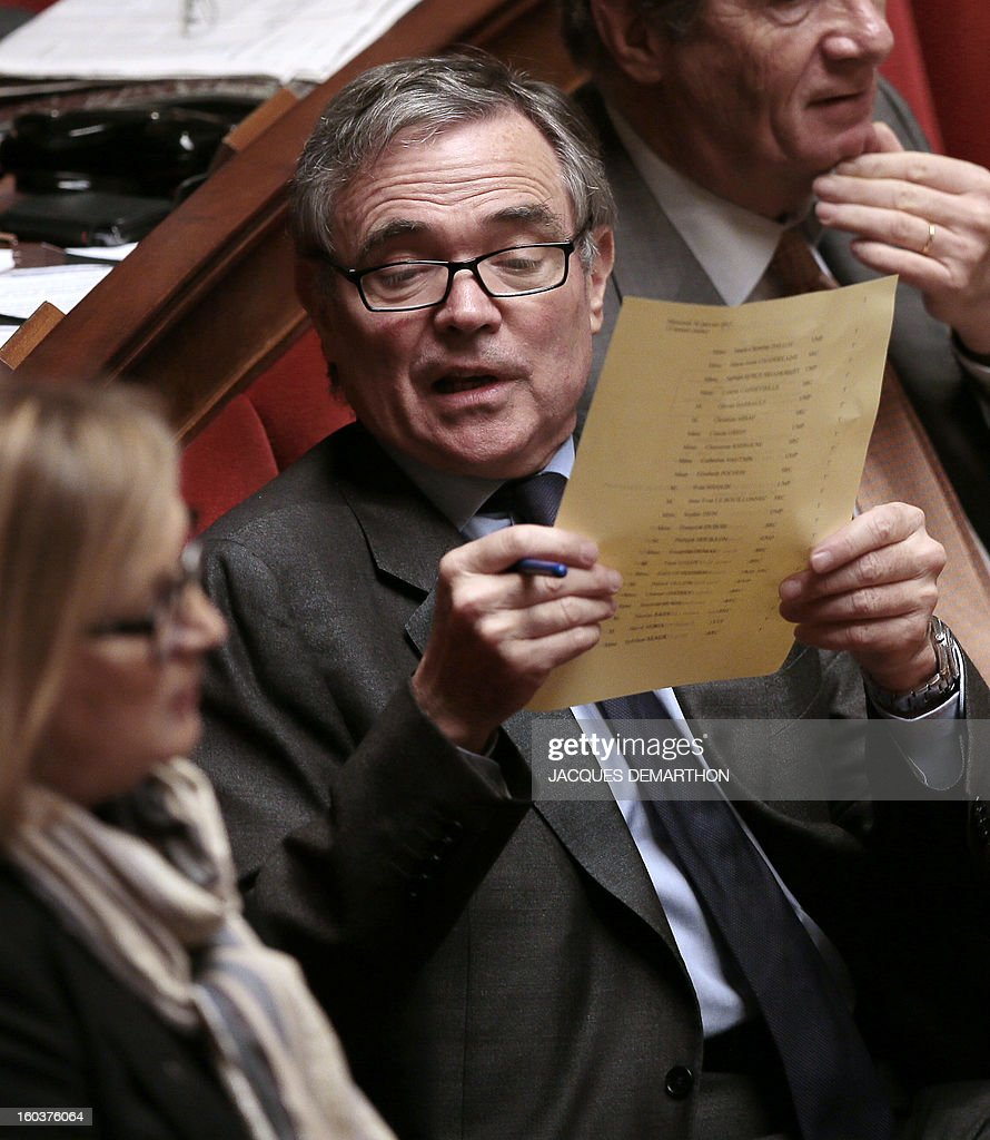 French former president of the national assembly and right wing UMP opposition party, Bernard Accoyer, attends a session of questions to the government at the National Assembly on January 30, 2013 in Paris.