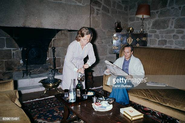 French Former Prime Minister and President of the Rally for the Republic Jacques Chirac with wife Bernadette at their home in Correze.