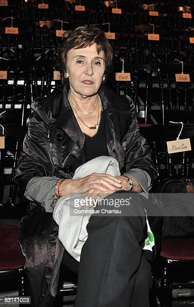 French Former Prime Minister Edith Cresson attends the Lanvin fashion show during Paris Fashion at Espace Eiffel on October 5 2008 in Paris France