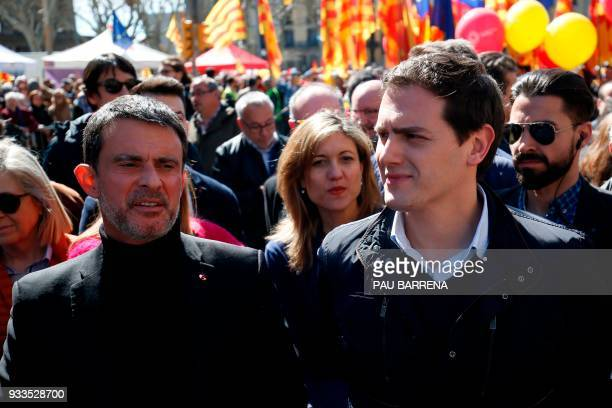 French former Prime minister Manuel Valls and Centerright party Ciudadanos leader Albert Rivera attend a demonstration called by Sociedat Civil...