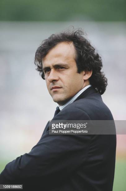 French former professional footballer and manager of the France national team Michel Platini pictured during a Group 1 match at the UEFA Euro 1992...