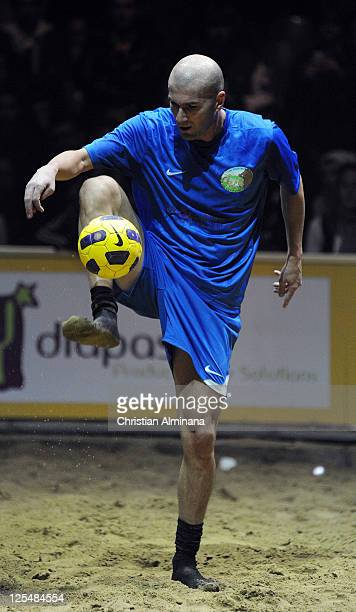 French former soccer player Zinedine Zidane attends the 'Beach Soccer Celebrity' For Fight Aids at Chapiteau du Cirque on December 11, 2010 in...