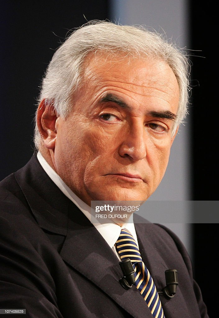 French former socialist minister Dominique Strauss-Kahn attends a debate with former socialist minister Segolene Royal and former Prime Minister Laurent Fabius, 17 October 2006 in a TV recording studio in Saint-Cloud, western Paris. It is the first of three televised debates in a bid to influence opinion among 200,000 card-carrying Socilaist Party (PS) members who are to choose the PS's nominee for France's 2007 presidential election, at an internal vote on 16 November 2006. The theme covered is 'social and economic questions', with following debates on 24 October and 07 November 2006 to be devoted to society, the environment, Europe, and international affairs.