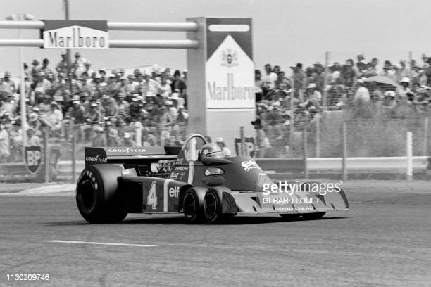 """French Formula One driver Patrick Depailler drives his Tyrrell P34 car commonly known as the """"six-wheeler"""" during the French Grand Prix at the..."""