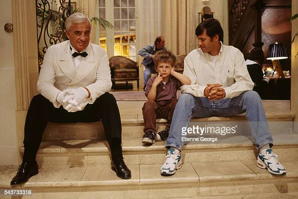 French Formula One driver Paul Belmondo with his son with Paul's father the French actor JeanPaul Belmondo on the set of Désiré directed by French...