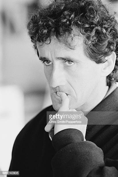 French Formula One racing driver Alain Prost pictured during a break between practice and qualifying sessions on 9th July two days before driving the...