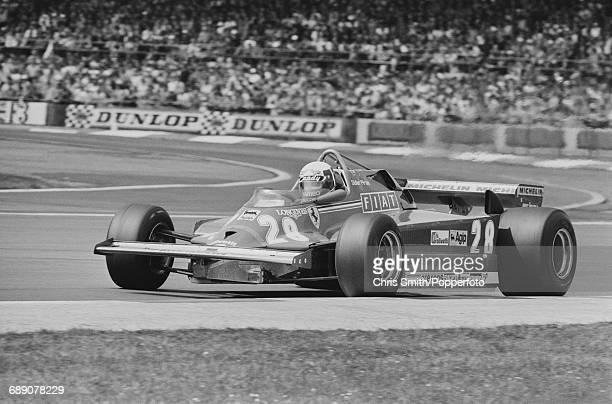 French Formula One racing driver Didier Pironi drives the Scuderia Ferrari 126CK Ferrari V6T turbo during the 1981 British Grand Prix at the...