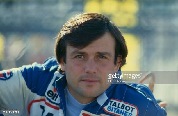 French Formula One racing driver Patrick Tambay, driver of the Equipe Talbot Gitanes Ligier JS17 Matra MS81 3.0 V12 pictured at the 1981 British...