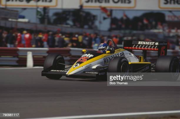 French Formula One racing driver Patrick Tambay drives the Equipe Renault Elf Renault RE60B Renault EF15 1.5 V6t in the 1985 British Grand Prix at...