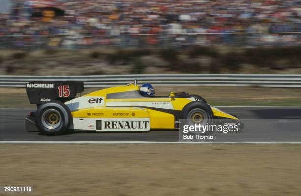 French Formula One racing driver Patrick Tambay drives the Equipe Renault Elf Renault RE50 Renault EF4 1.5 V6t to finish in 7th place in the 1984...