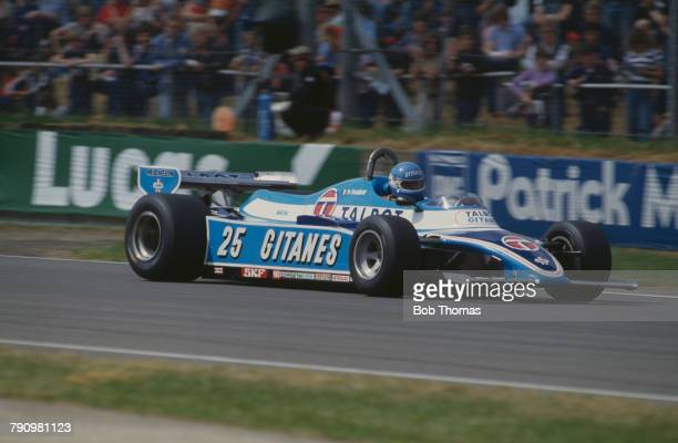 French Formula One racing driver Patrick Tambay drives the Equipe Talbot Gitanes Ligier JS17 Matra MS81 3.0 V12 in the 1981 British Grand Prix at...