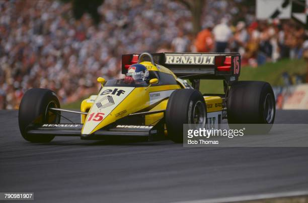 French Formula One racing driver Patrick Tambay drives the Equipe Renault Elf Renault RE50 Renault EF4 1.5 V6t to finish in 8th place in the 1984...