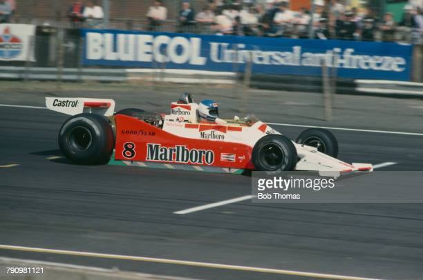 French Formula One racing driver Patrick Tambay drives the Marlboro Team McLaren McLaren M28C Ford Cosworth DFV 3.0 V8 to finish in 7th place in the...