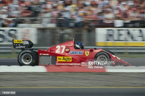 French Formula One racing driver Patrick Tambay drives the Scuderia Ferrari Ferrari 126C3 Ferrari 021 1.5 V6t to finish in 3rd place in the 1983...