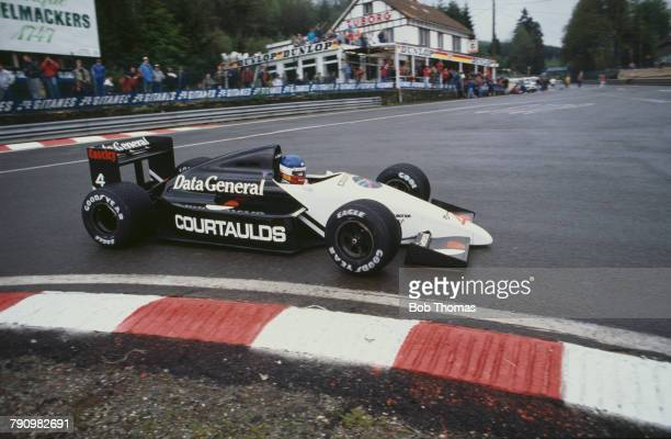 French Formula One racing driver Philippe Streiff drives the Data General Team Tyrrell Tyrrell DG016 Cosworth V8 to finish in 9th place in the 1987...