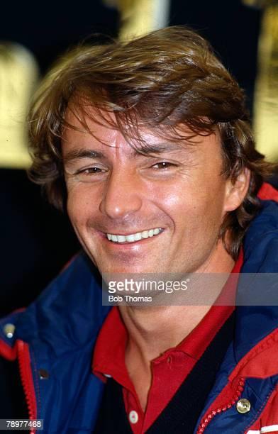French Formula One racing driver Rene Arnoux, driver of the Scuderia Ferrari Ferrari 126C Ferrari V6 racing car during the 1983 FIA Formula One World...