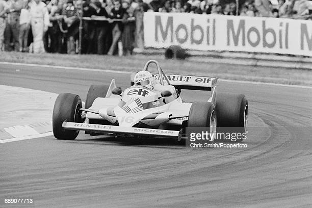 French Formula One racing driver Rene Arnoux drives the Equipe Renault Elf RE30 Renault V6 to finish in 6th place in the 1981 British Grand Prix at...
