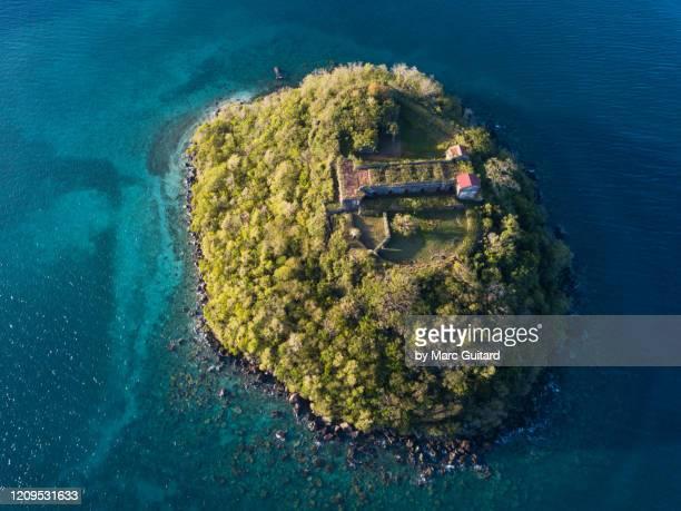 french fort and tropical island, ilet ramiers, martinique - isla martinica fotografías e imágenes de stock