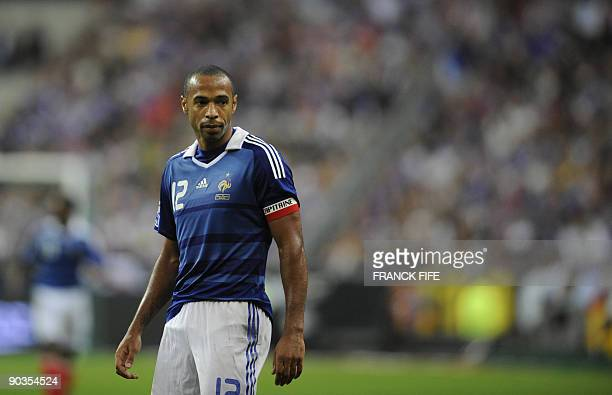 French forward and captain Thierry Henry reacts during the World Cup 2010 qualifying football match France vs Romania on September 5 2009 at the...