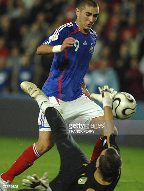 dcffa1db757 French forward Karim Benzema vies with Lithuanian goalkeeper Zydrunas  Karcemarskas during the Euro 2008 qualifying match