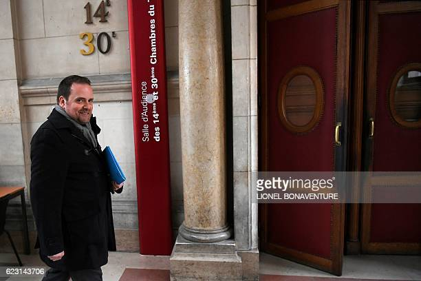 French founder of Bygmalion PR company Bastien Millot arrives for his trial at the courthouse of Paris on November 14 2016 Former CEO of French media...