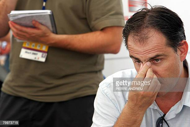 French Franck Chevallier France Athletics Federation technical manager speaks to the journalists at the end of the French Athletics Championships 05...