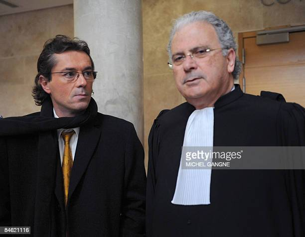 French Franck de Vita and Gerard Bismuth lawyers of Jamila M'Barek wife of late Anthony AshleyCooper 10th Earl of Shaftesbury arrive on February 4...