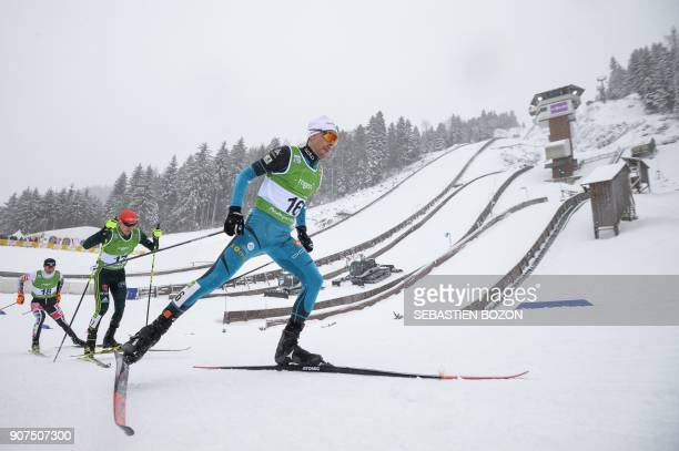 French Francois Braud competes during the individual Gundersen of the FIS Nordic Combined World Cup on January 20 2018 in ChauxNeuve eastern France /...