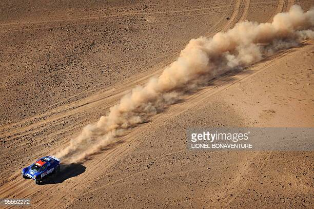 French Francois Lethier drives his buggy during the fourth stage of the second edition of the Africa Race on January 2 2010 The Africa Race started...