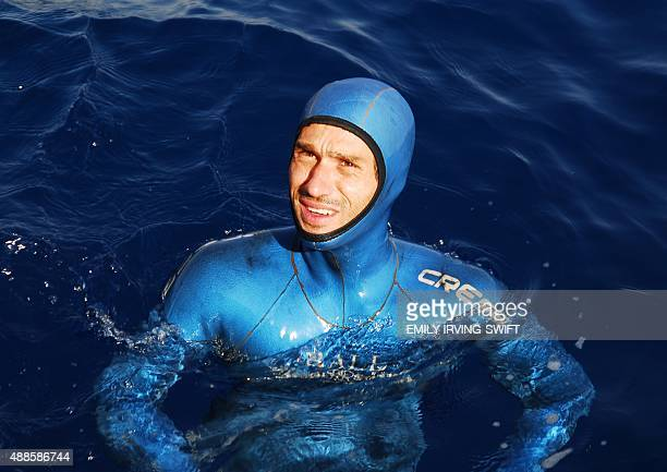 French free diving champion Guillaume Nery is seen in the water during the AIDA individual World Championships free diving competition off the coast...