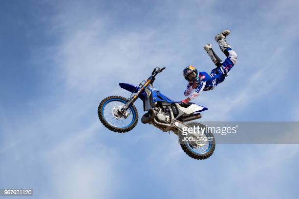TOPSHOT French freestyle motocross rider and world champion Tom Pages practices during a training session in Barcelona on May 26 2018