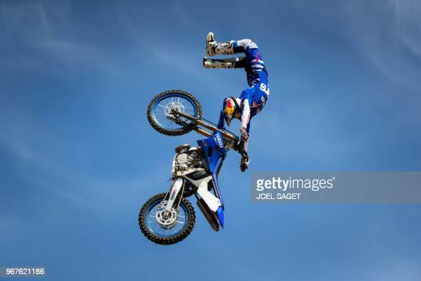 French freestyle motocross rider and world champion Tom Pages practices during a training session in Barcelona on May 26 2018
