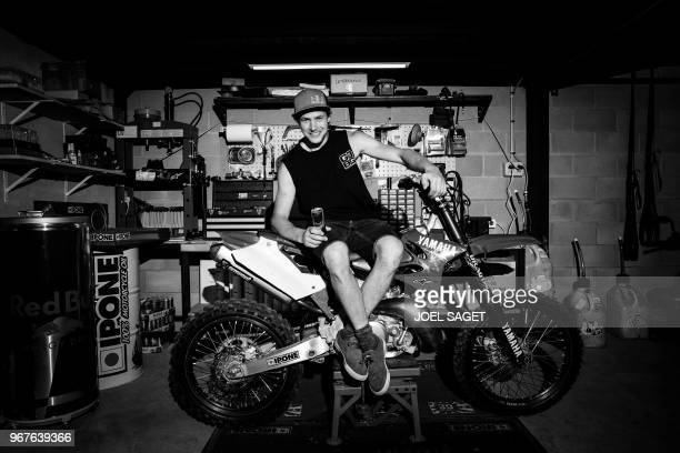 French freestyle motocross rider and world champion Tom Pages poses prior to a training session in Barcelona on May 26 2018 / BLACK AND WHITE VERSION