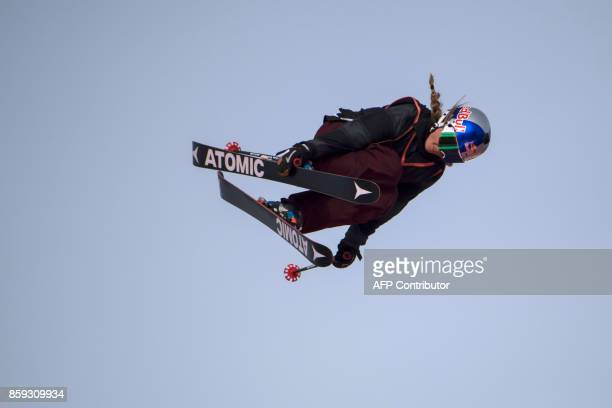 French freestyle skier and 2017 slopestyle world champion Tess Ledeux performs a jump at the Sosh Big Air track during the Big Air festival in Annecy...