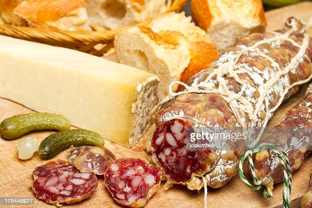 French fresh sausage with cheese and bread