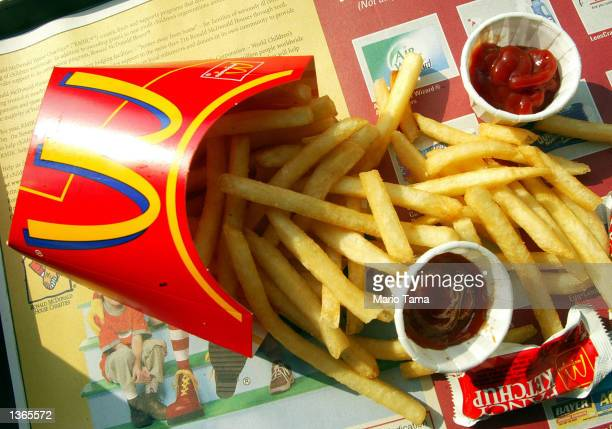 French fries are shown in a McDonald's restaurant on First Avenue September 3 2002 in New York City McDonald's announced plans to use a new cooking...