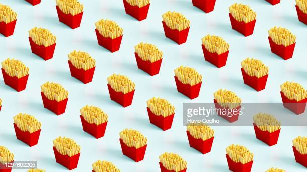 french fries low poly pattern background - part of a series photos et images de collection