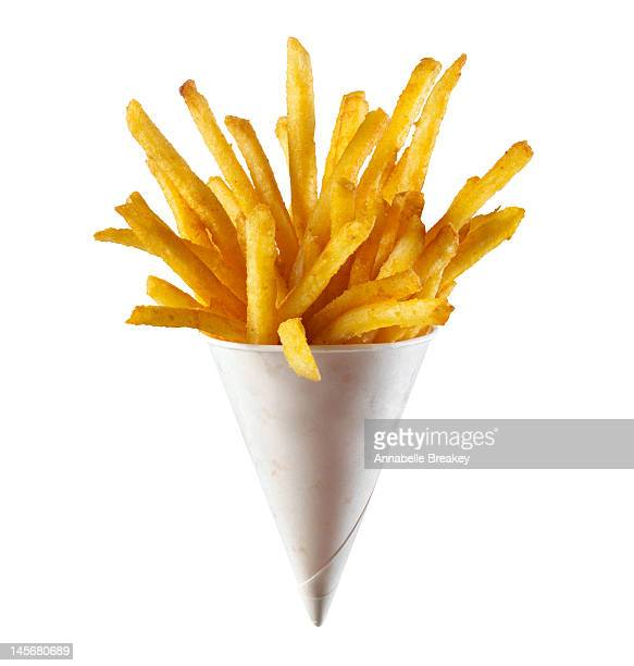 french fries on white background - cone shape stock photos and pictures