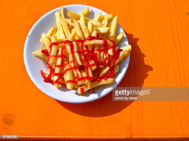 french fries - ketchup stock pictures, royalty-free photos & images