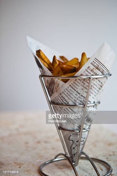French fries served in a paper cone