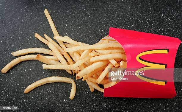 French fries sit on a table at a McDonald's restaurant February 15 2006 in Des Plaines Illinois McDonald's announced February 13 that their french...