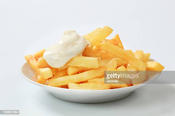 french fries with mayonnaise - mayonnaise stock pictures, royalty-free photos & images