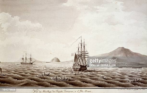 French frigates anchored near the island of Mowee, in the archipelago of Hawaii, engraving based on a drawing by Francois-Michel Blondela , from an...